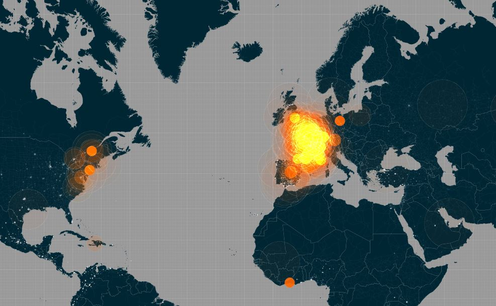Mapping #JeSuisCharlie Tweets in Real Time
