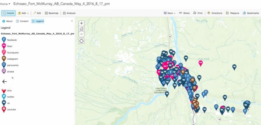 Social Media data layers from Echosec location-based search brought into the ArcGIS environment