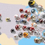 NCAA Division I Football Map of The 58 highest drawing teams