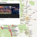 The Denver Broncos Colorado 14ers Google Map Honors Super Bowl Bound Broncos
