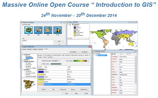 """Massive Online Open Course """" Introduction to GIS"""""""