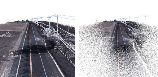 Before and after FME is used to thin a LiDAR dataset of a section of highway