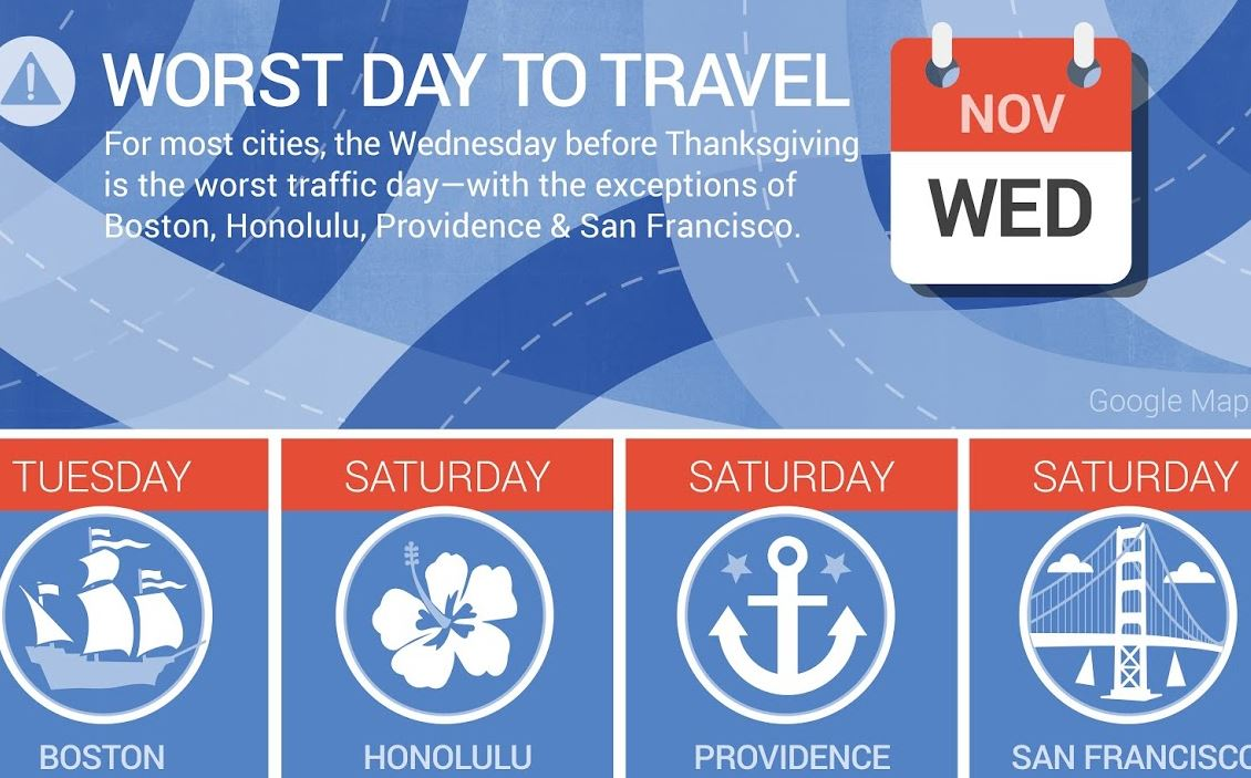 Google Maps' Thanksgiving Traffic Alert: Wednesday the Worst Day to Drive