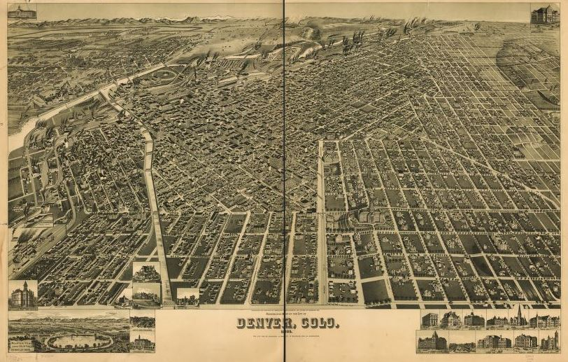 Mappy Friday- Perspective map of the city of Denver, Colo. 1889.