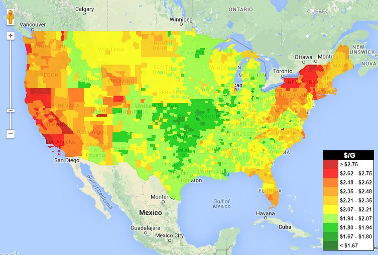 Wheres The Cheap Gas The GasBuddy HeatMap Can Tell You - Us heat map