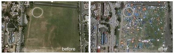 Kathmandu, viewed by Pléiades satellites, before and after the earthquake. 28.04.2015