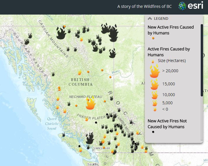 Canada Wildfires 2015 Map Wildfires in British Columbia (Story Map)   How many are caused by
