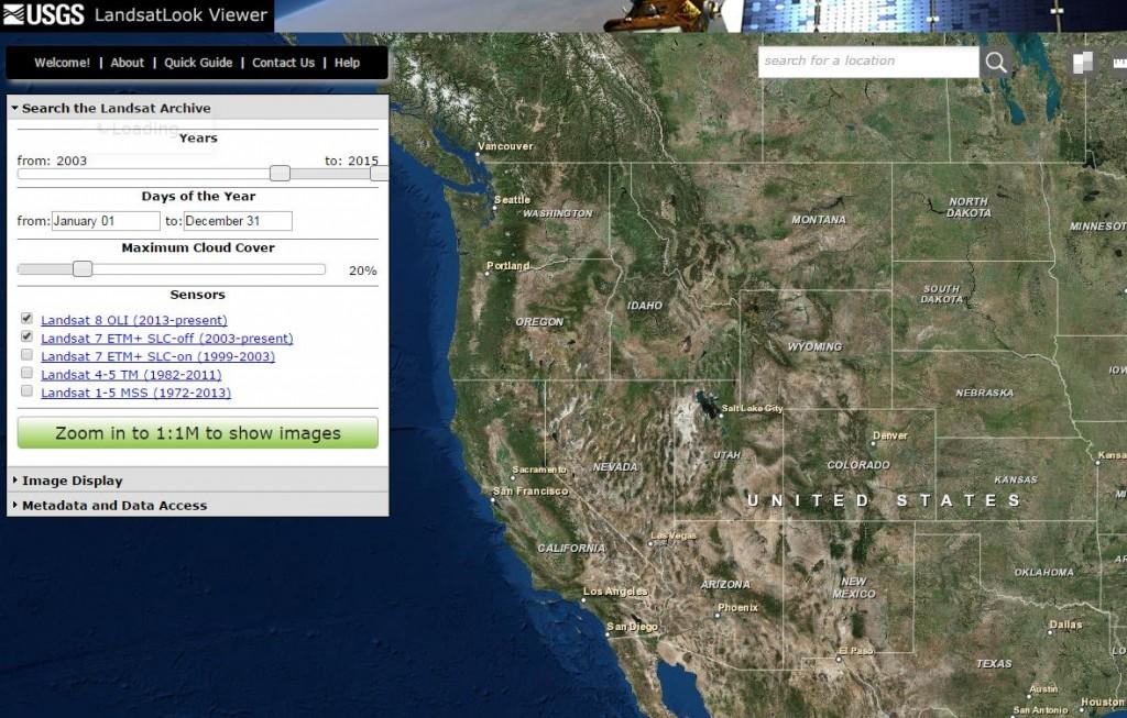 Data Tip - USGS Landsat Look Viewer