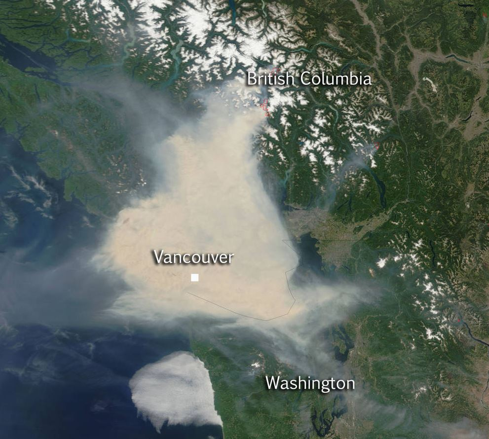 Satellite Sees Smoky Skies Over World Cup Soccer - Fire and Smoke Cover SW British Columbia