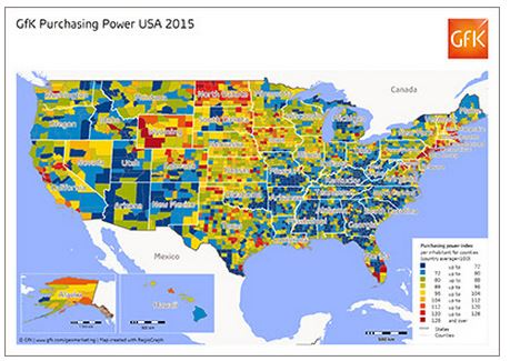GfK's Map of the Month - Purchasing power USA