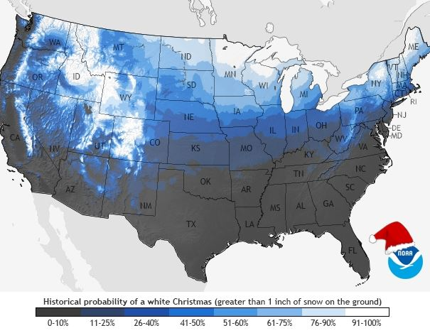 NOAA Map Update - Are you dreaming of a white Christmas?