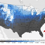 NOAA Map Shares historic probability of a White Christmas