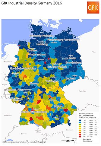 Map Of The Month Industrial Density Germany - Us population 2016 density map