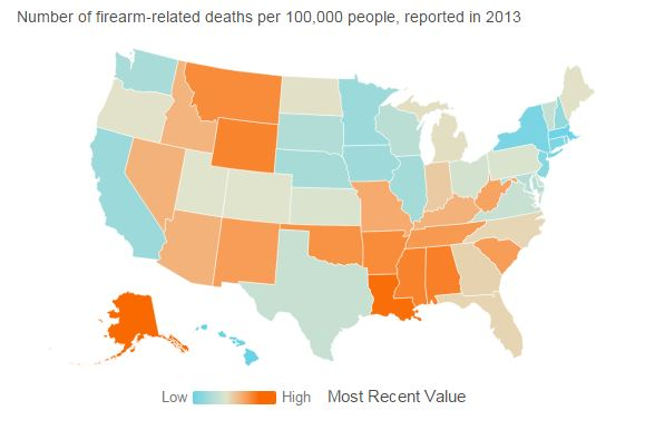 Map of the Day - Firearm-Related Deaths in the United States