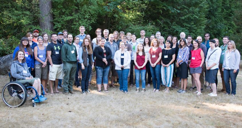 2015 Climate Boot Camp fellows and Northwest Climate Science Center staff at Pack Forest Conference Center, Washington. Photo by Ryan McClymont, USGS, 2015
