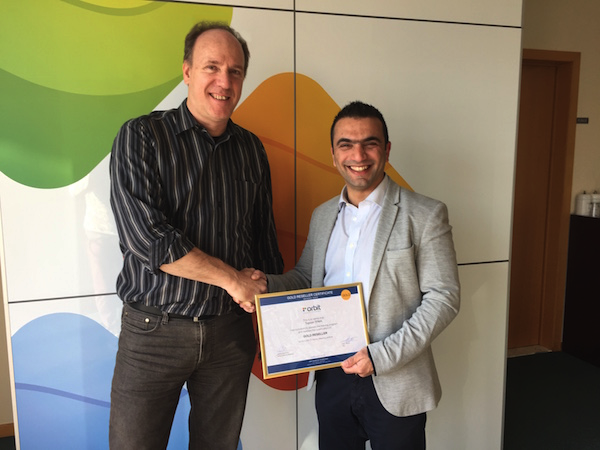 Peter Bonne (Orbit GT) and Talal Hanna (TPMA) celebrating the TPMA Gold Reseller Agreement.