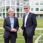 Apple CEO Tim Cook and SAP CEO Bill McDermott meet at Apple's campus in Cupertino to announce a new partnership to revolutionize work on iPhone and iPad. Courtesy of Apple/Roy Zipstein
