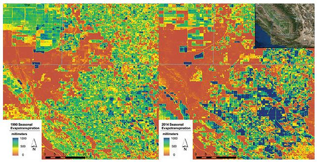 This pair of ET water-use maps shows crop water use in California's San Joaquin Valley in 1990 (left) and 2014 (right).