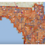 Vector Grid with Hurricane Wind and Pressure Data - This Maptitude map shows a color theme of wind and a scaled symbol theme of pressure based on historical hurricane track vector data. The map comes from Prof. Grant Thrall's video, Part 2: Vector To Raster Grid Conversion: Calculation of Risk to Real Estate. (Featured Map – June 2013)