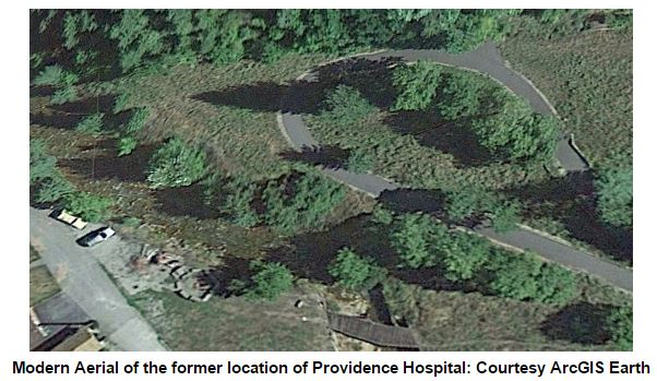 Modern Aerial of the former location of Providence Hospital: Courtesy ArcGIS Earth