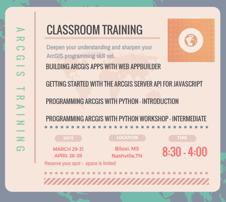Spring Workshops and Training for ArcGIS Developers in Nashville, TN and Biloxi, MS