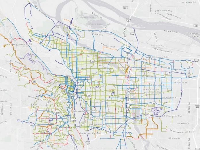 Portland's official city bike map