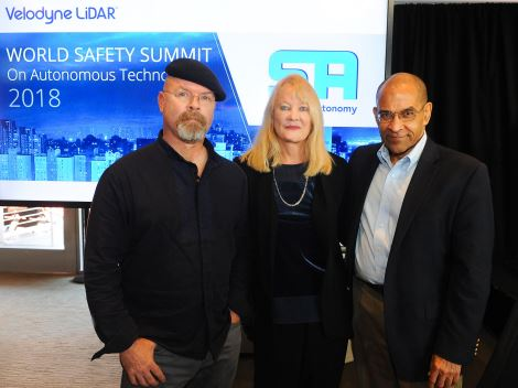 From L to R: World Safety Summit Host Jamie Hyneman; Velodyne Lidar President Marta Hall; former FAA director and NTSB chairman Christopher A. Hart (Photo: Business Wire)