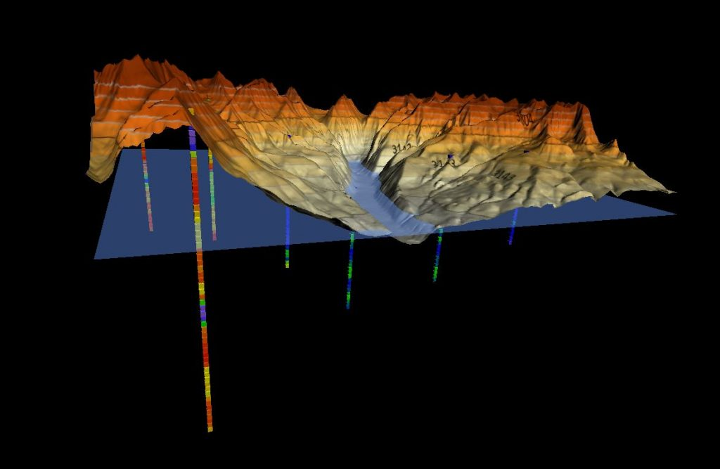 surfer- Topographic surface with well sample data and water level.