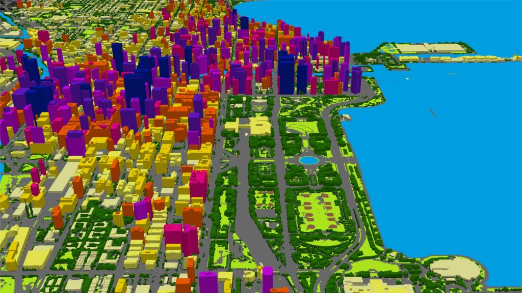 LAND INFO automated mapping technology, including Object Based Image Analysis and Artificial Intelligence, generated this 3D data set containing multi-tiered building and tree vectors for downtown Chicago