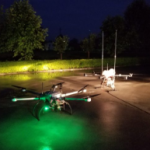 The patrol drone and tethered radio communications drone ready for takeoff