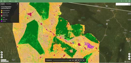 Screenshot from the Ecometrica platform showing new cocoa landscape land classification map produced by the Ghana Forestry Commission