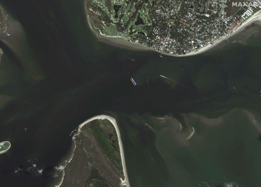 Satellite Imagery: Golden Ray Capsizing