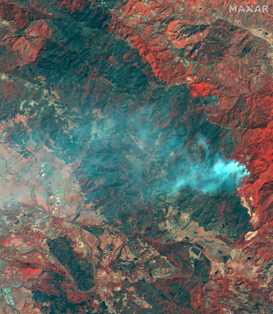 overview of kincade fire burn area_30oct2019_ge1 color infrared