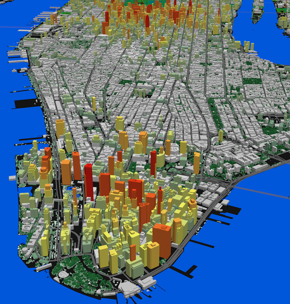 LAND INFO uses the most detailed aerial sources to create precise mapping optimized for demanding 5G network planning and design. This Manhattan, New York, 3D data set includes 3D building structures with detailed segmenting and contoured treed vectors with understory modeling.