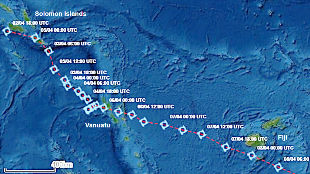 Path of destruction: Satellite imagery shows the path of Cyclone Harold from the Solomon Islands on April 2, to Vanuatu on April 6 and on to Fiji on April 8 (source: UNITAR/UNOSAT)