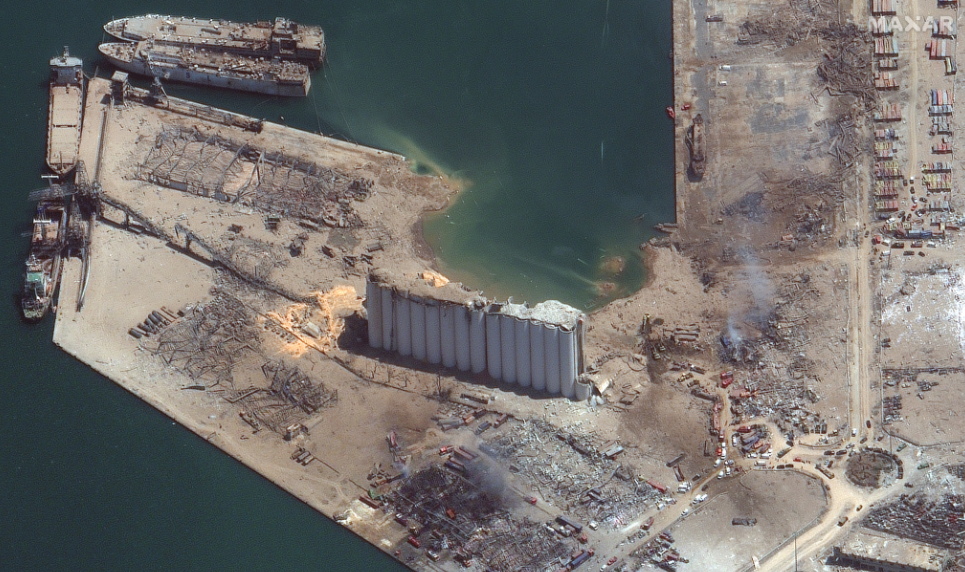 Beirut - oblique view of grain silo and blast epicenter after explosion, captured 5 aug, 2020