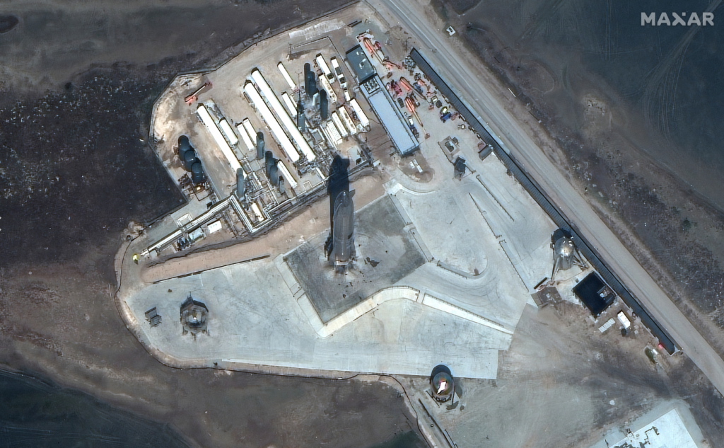 Satellite Imagery: SpaceX Starship SN10 Hours Before Launch