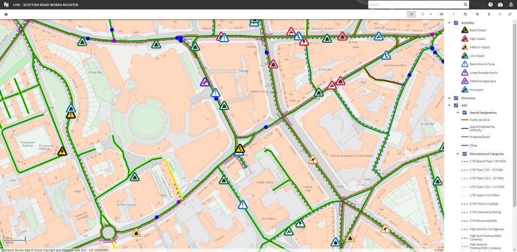 New street works application using cloud GIS manages road works across Scotlan
