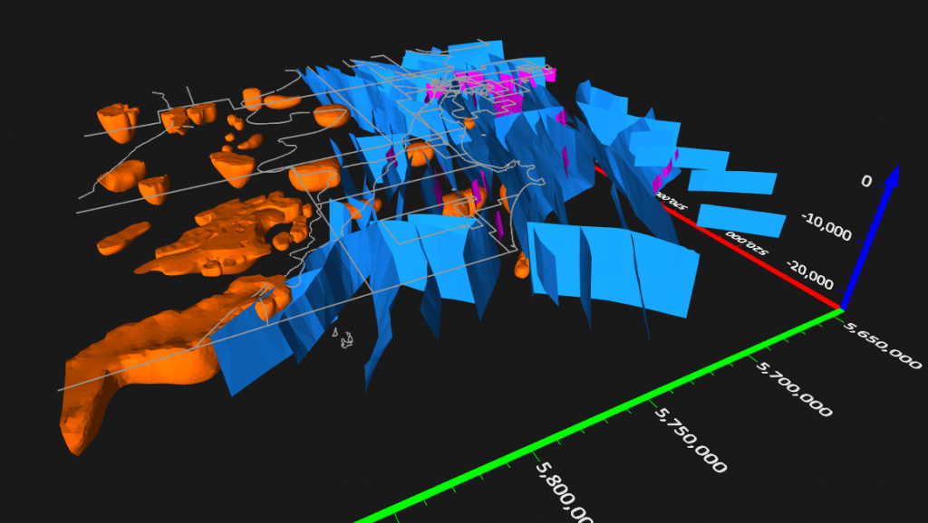 Graphics Caption:Display 3D polygons from DXF files, such as fault planes and magnetics data, in the 3D View.