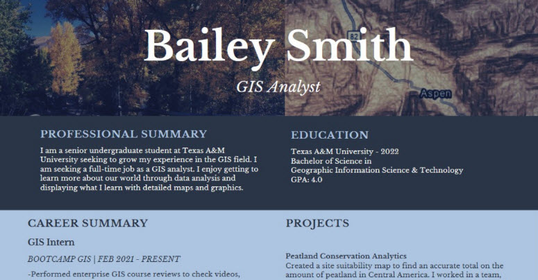 Making a GIS resume that stands out