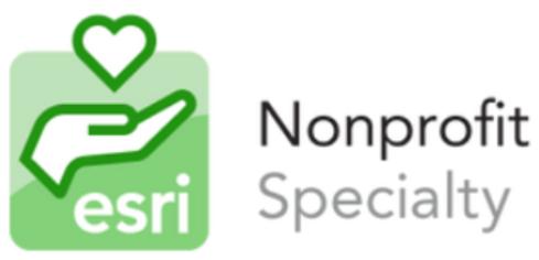 Partners in the Nonprofit Specialty are recognized in their alignment with Esri's Nonprofit Organization Program (Esri)