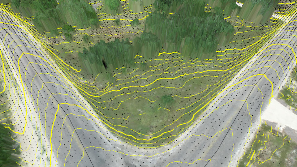 Contour lines at bare earth from Zenmuse L1 data.